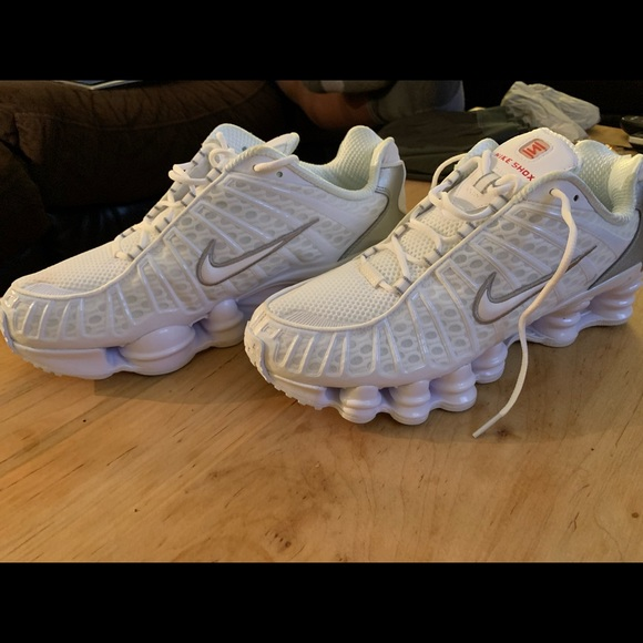 Nike Shox TL Men's Size 10 White/ Metallic Silver
